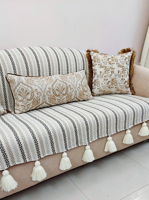 Neutral Chevron L-shaped Couch Cover with Neutral Tassels