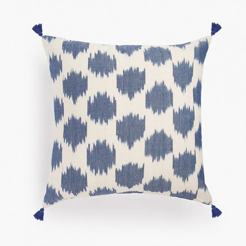 Blue Ikat Cushion with tassels
