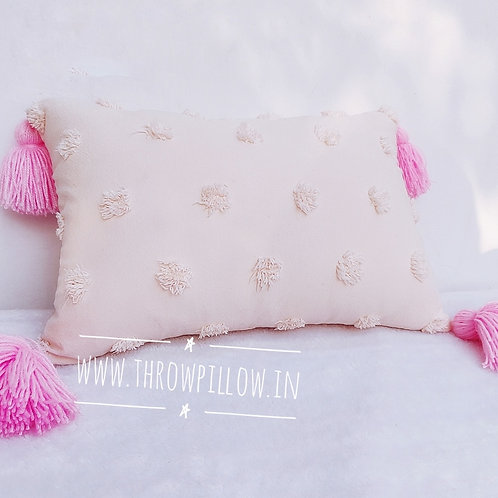 Blush Tuft Lumbar with Pink Tassels