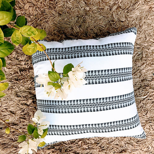 White Black Cotton Throw Pillow