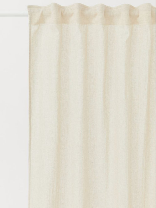 Neutral  Cotton Solid Curtains - Set of 2