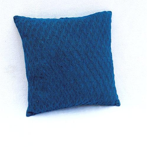 Teal Blue Textured Cushion Cover