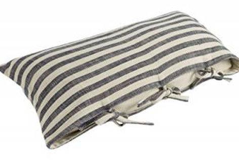 Farmhouse Black & Cream Cotton Knot Rectangular Cushion