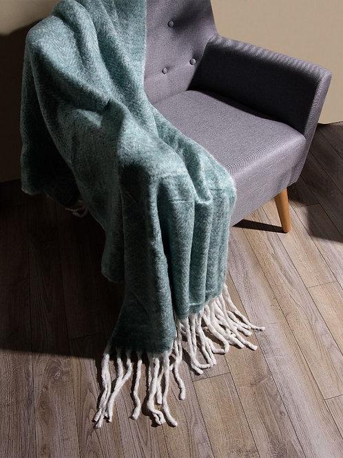 Emerald Woolen Mohair Throw
