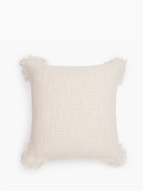 Neutral Textured Cushion with fringes