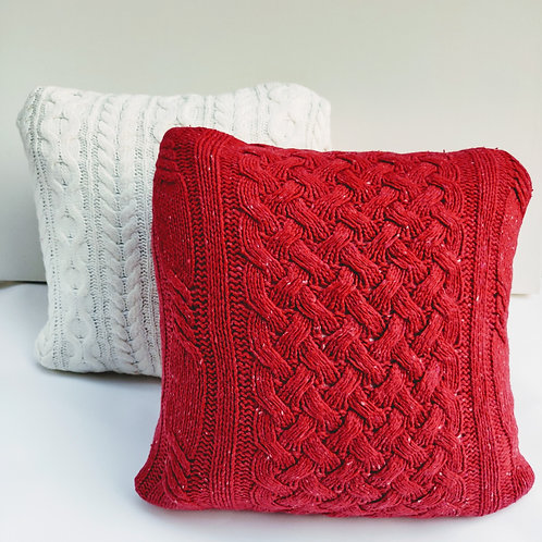 Red Winter Close Knit Pillow
