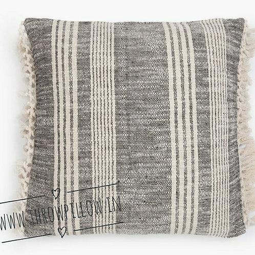 Farmhouse Black & Cream strips fringe pillow