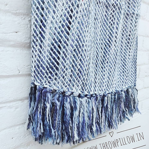 Navy Blue Basket Weave/Knitted Throw