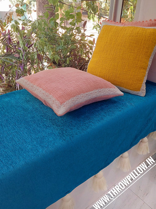 Mustard Textured with Cotton Trim Cushion Cover