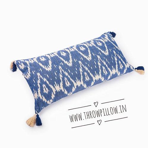Ikat Blue Rectangular Cushion Cover