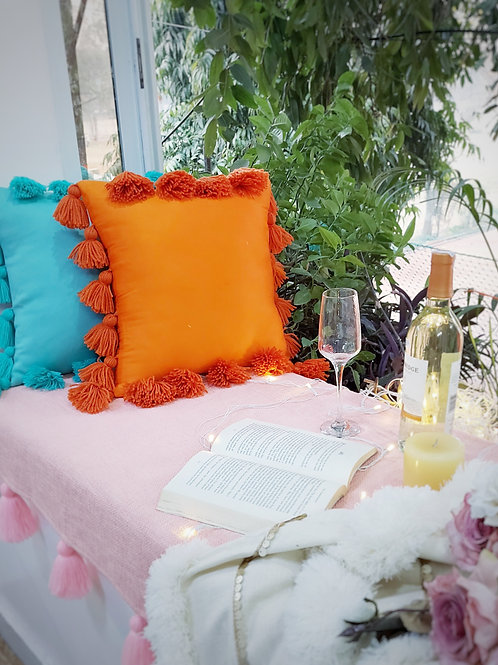 All Round Tassel Orange Cushion Cover