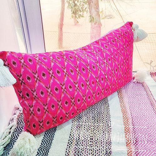 Fuchsia Rectangular Cushion Cover with off white fine tassels