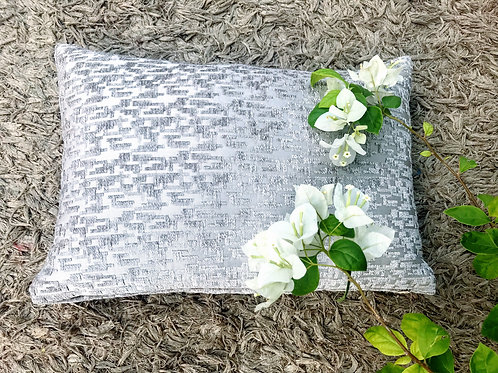 Metallic Beige Self Pattern Rectangular Cushion Cover