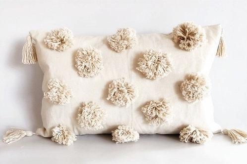 Neutral Pom Pom Rectangular Cushion