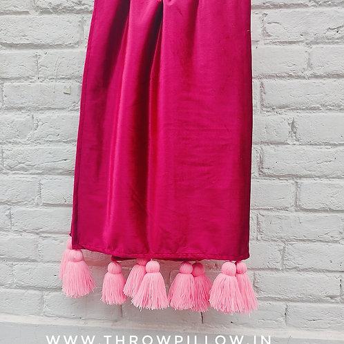 Luxe Crimson Red Velvet Tassel Throw for L-Shaped Couch