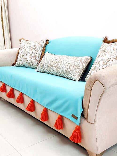 Caribbean Blue Green L-shaped Couch Cover | Sofa Tassel Throw