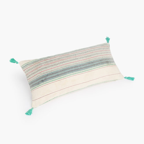 Cotton Aqua Tassel Rectangular Cushion