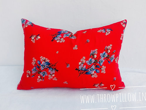 Red Blue Floral Rectangular Cushion Cover