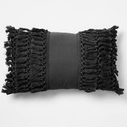 Black Fringe Tassel Rectangular Cushion Cover