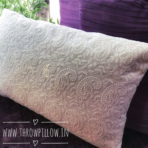 Lucknow Chikan Embroidery Rectangular Cushion