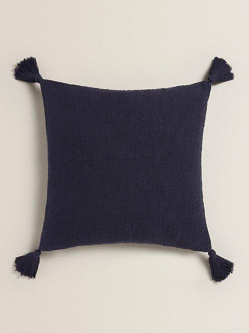 Navy Blue Tassel Cushion