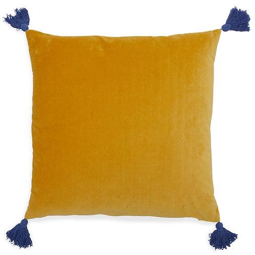 Mustard Velvet Cushion Cover with Tassels