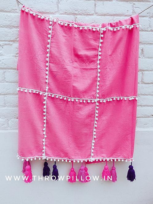 Pink Throw with Pom Pom & tassels