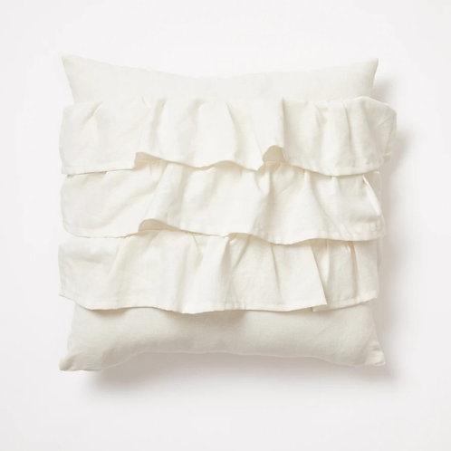 Off White Ruffle Layers Cushion Cover