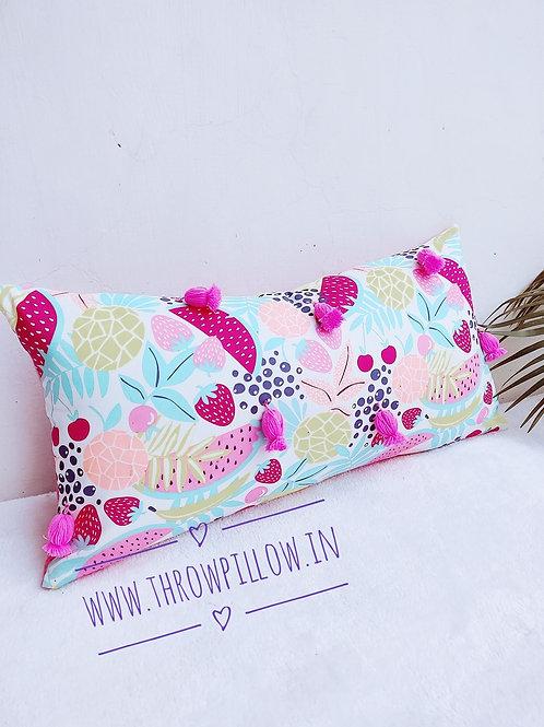 Multi colored Fruity Embellished Rectangular Cushion -12x24 inches