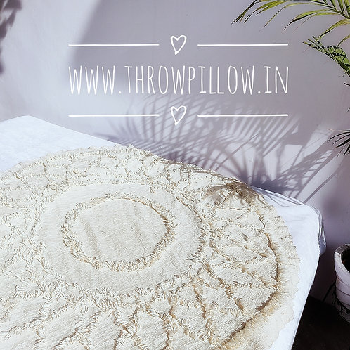 Off White Tufted Round Table Cloth