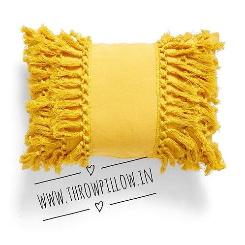 Yellow & Blush Tasseled Rectangular Cushion Cover