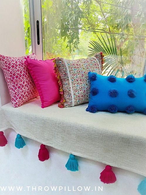 Neutral Textured Cotton Couch Cover with Fuschia & Blue tassels
