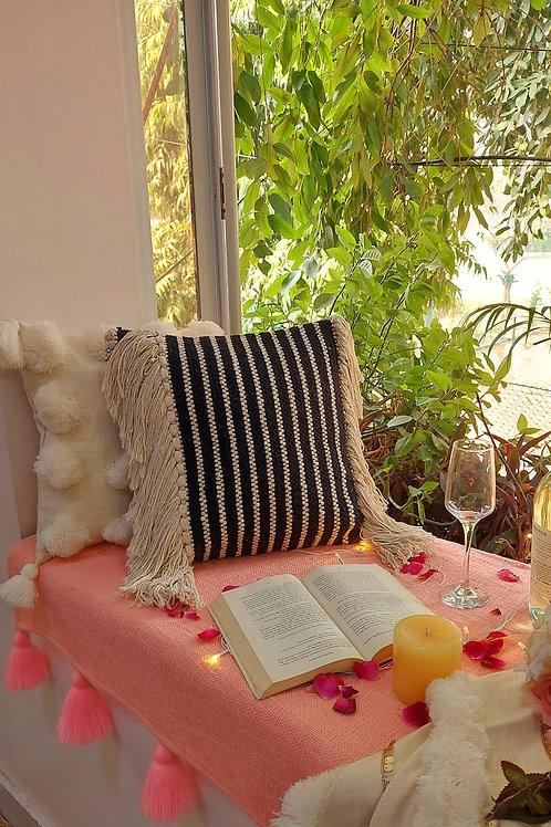 Boho Black Fringe Cushion Cover