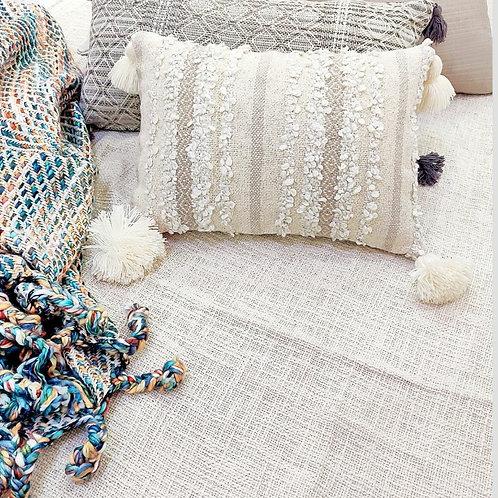 Neutral Boho Textured Rectangular Cushion Cover