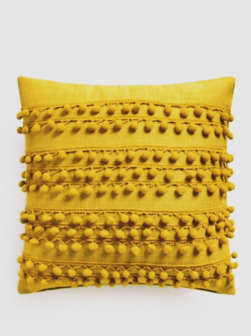 Yellow Pom Pom Love Cushion Cover
