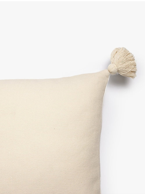 Neutral Self Textured Cushion Cover with tassels