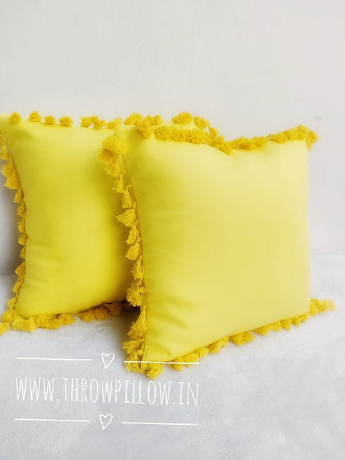 All round Yellow Tassel Throw Pillows