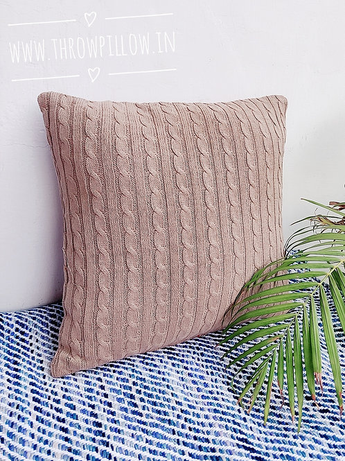 Almond Knitted Throwpillow
