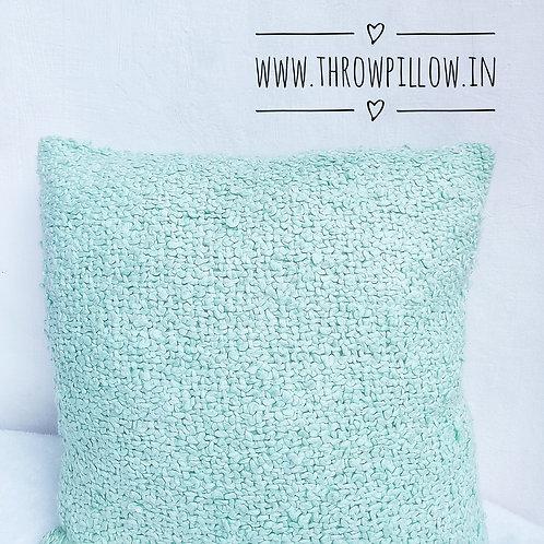 Pastel Blue Chunky Knit Throw Pillow