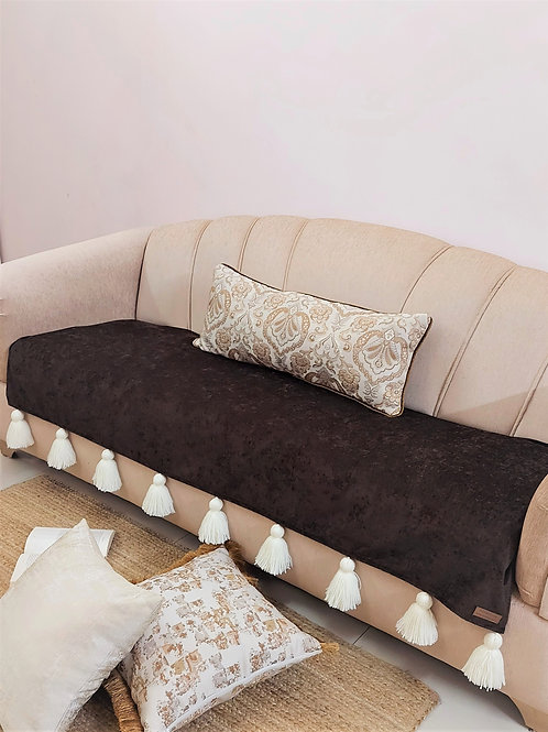Brown Solid Tassel Throw/Sofa Cover With Off-White Tassels