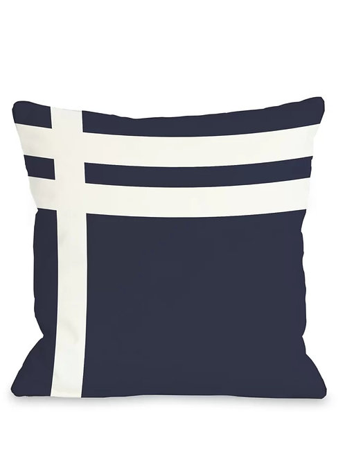 Navy Blue Stripes Pattern Cushion Cover