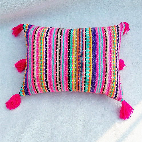 Multicolored Boho Rectangular Cushion Cover