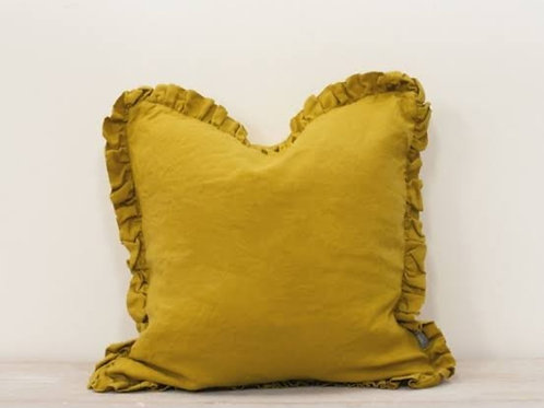 Mustard Ruffle Cushion Cover