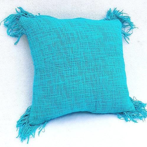 Blue Boho Textured Cushion Cover