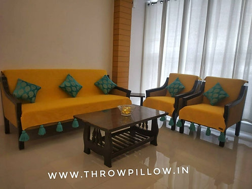 Mustard Yellow Throw  for L-Shaped Couch With  Blue tassels