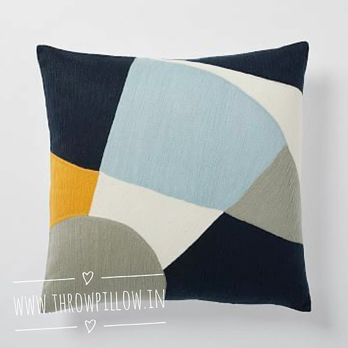 Crewel Embroidered Colour Block Cushion Cover