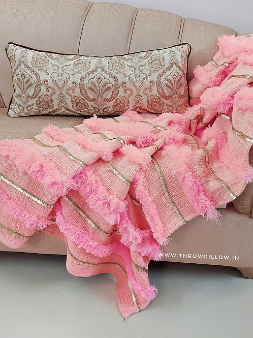 Moroccan Wedding Blanket Throw- Blush Pink