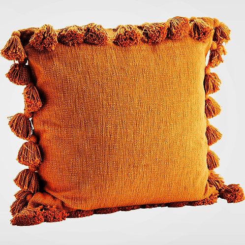 Burnt Orange All Round Tassels Cushion