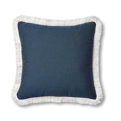 Beach Bungalow Navy Blue Fringe Cushion Cover