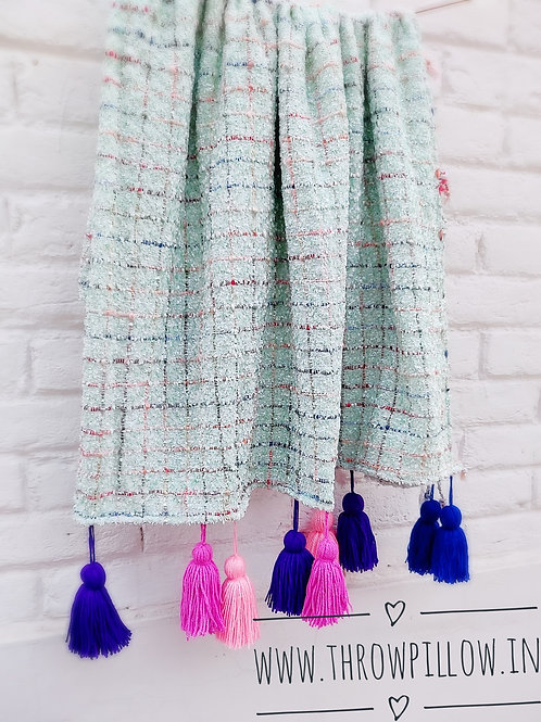 Mint Green Textured  Throw with tassels